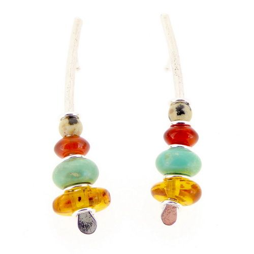 Multi coloured gemstone earrings, silver amber carnelian turquoise medium arc shaped